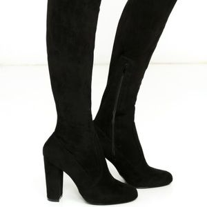 high black thigh high boots